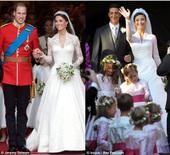 """英新王妃婚纱被指""""抄袭""""贝卢斯科尼教女嫁衣"""