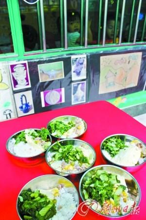 被曝光幼儿园的孩子们的午餐。资料图片