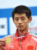 图文:世乒赛男子单打张继科夺冠 手拿金牌