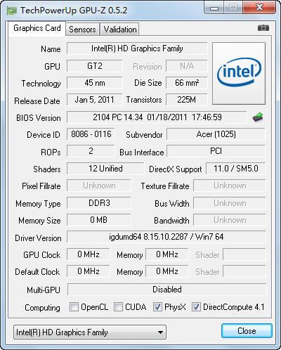 Intel HD Graphics 3000核心显卡