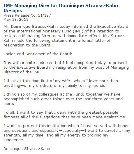 国际货币基金组织网站刊出卡恩辞职声明