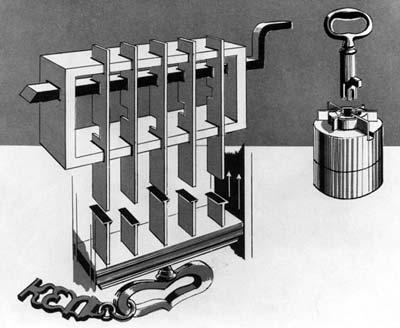 约瑟夫·布拉默设计的圆筒锁的原理示意图.
