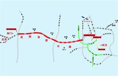 武荆高速路线示意图