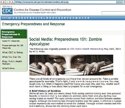 """美国疾病防控中心的网站上,出现了专业性的防范""""僵尸末日""""的指导意见"""