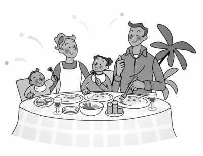 家人团聚吃饭简笔画
