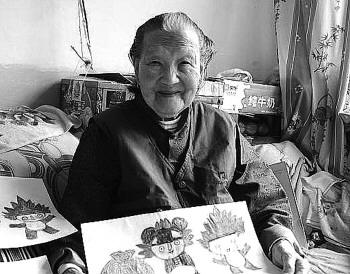无师自通画作质朴自然109岁乳山老太画吗像吗