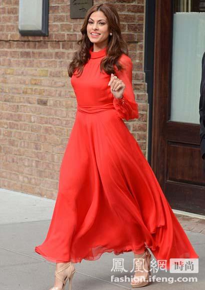 橙红色公主袖长连衣裙