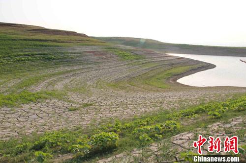 近日,受特大干旱影响,南水北调中线工程水源地丹江口水库水位一度跌破历史最低。图为丹江口水库库岸因干旱龟裂。中新社发 王东 摄