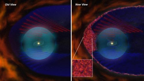 """按照新、旧理论分别绘制的有关太阳""""日鞘""""的结构。红色和蓝色的螺旋弯曲线是磁力线"""