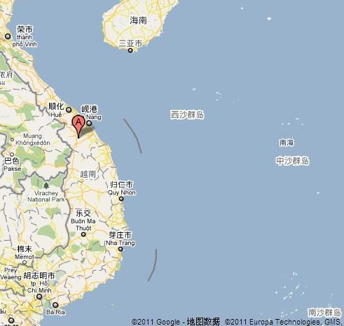 图中a处标识位置是越南广南省(谷歌地图)