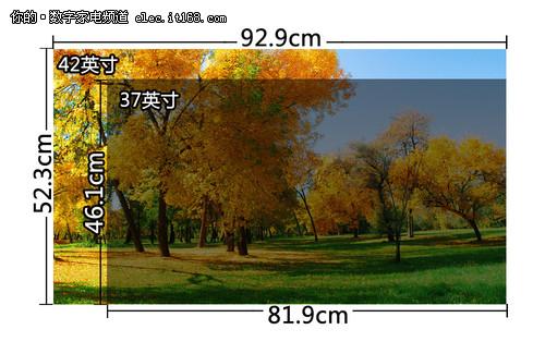 松下TH-P42C22C与长虹iTV37650X的屏幕尺寸等比例对比图