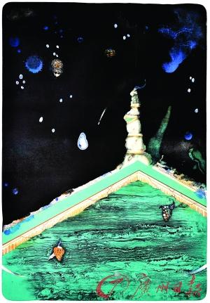 李長興《有意味的風景·水》 套色石版畫 (研究生組一等獎)