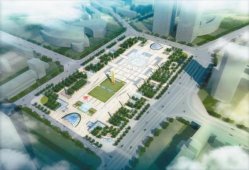 中轴广场区域设计开放式集会节点,广场大型旱喷广场,中心雕塑,升旗