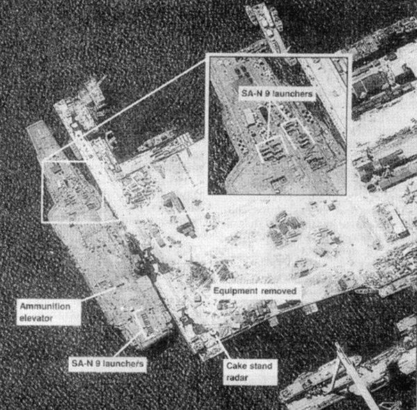 """1996年美国KH-12型""""锁眼""""军用侦察卫星拍摄的照片,武器和雷达已拆除。"""