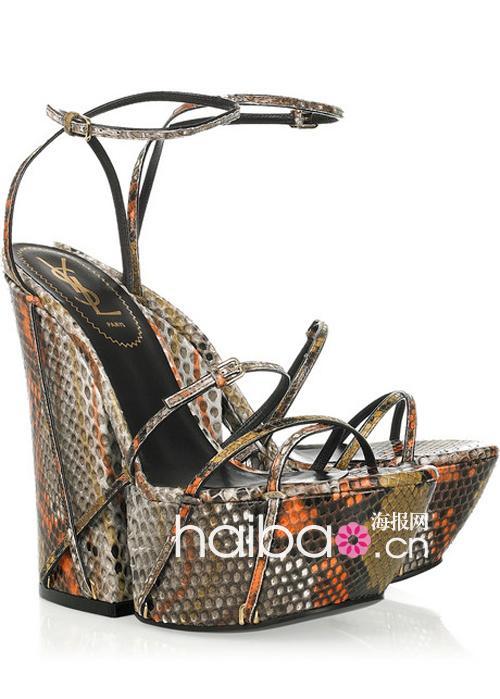 ysl (yve saint laurent) 2011夏季彩色蟒蛇纹印花楔跟凉鞋