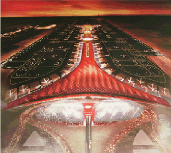 世界上航�y�l:a�_即使开业的3号航站楼,面积庞大(长度高大2英里,是世界最大的建筑之一)