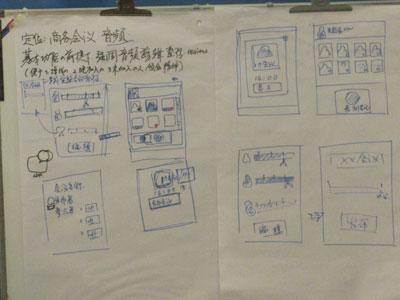 在白板上记录要点和绘制原型界面