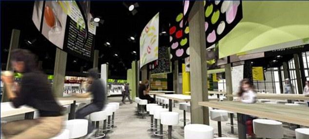 世界最大麦当劳餐厅内将设有1500个座位.(设计效果图)-美食助阵 图片