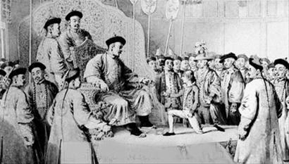一行人觐见乾隆皇帝.画像中英使马戛尔尼和他的侍童都是单膝下