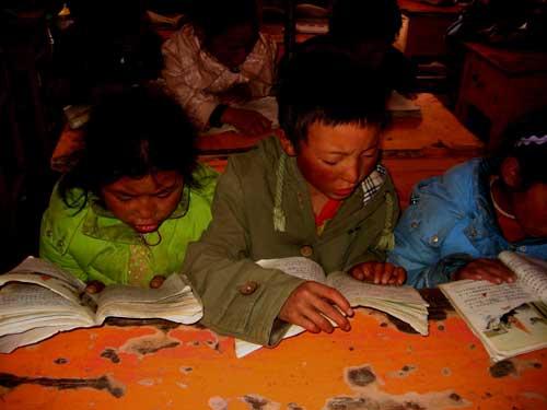 孩子们在帐篷教室里认真地读书,条件非常艰苦.