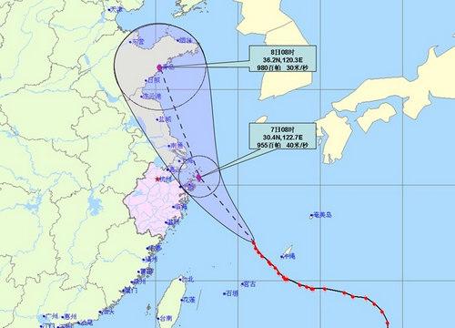 中心附近最大风力14级(45米/秒),中心最低气压950百帕.图片