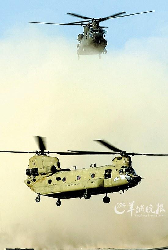 """这张拍摄于2011年3月30日的资料照片显示,两架美军""""奇努克""""直升机在阿富汗南部坎大哈的空军基地降落"""