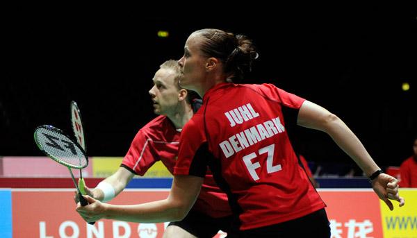 丹麦女双组合在比赛中