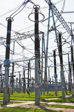 变电所的设备上装了很多避雷器
