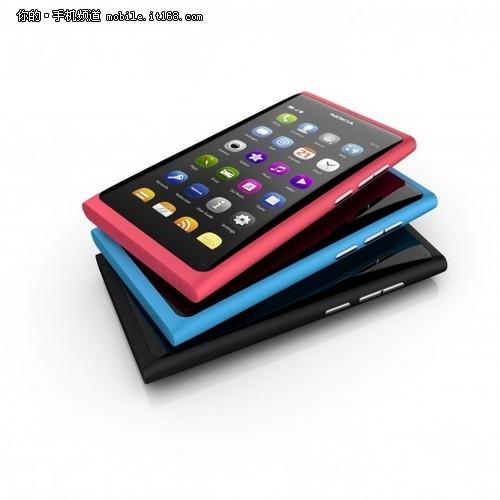 诺基亚N9拥有红、蓝、黑三种不同的配色