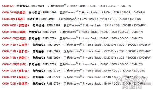 东芝C600笔记本不同小型号参数