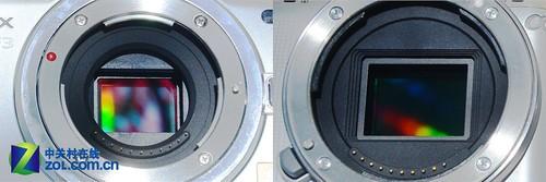 索尼NEX-C3(右) pk 松下GF3 (左) 传感器对比
