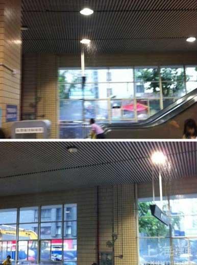 """图为""""粉色小天使""""拍摄的曹杨路站漏水点 来源:上海滩"""