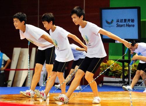 图文:大运赛场涌动健身潮 花式跳绳表演图片