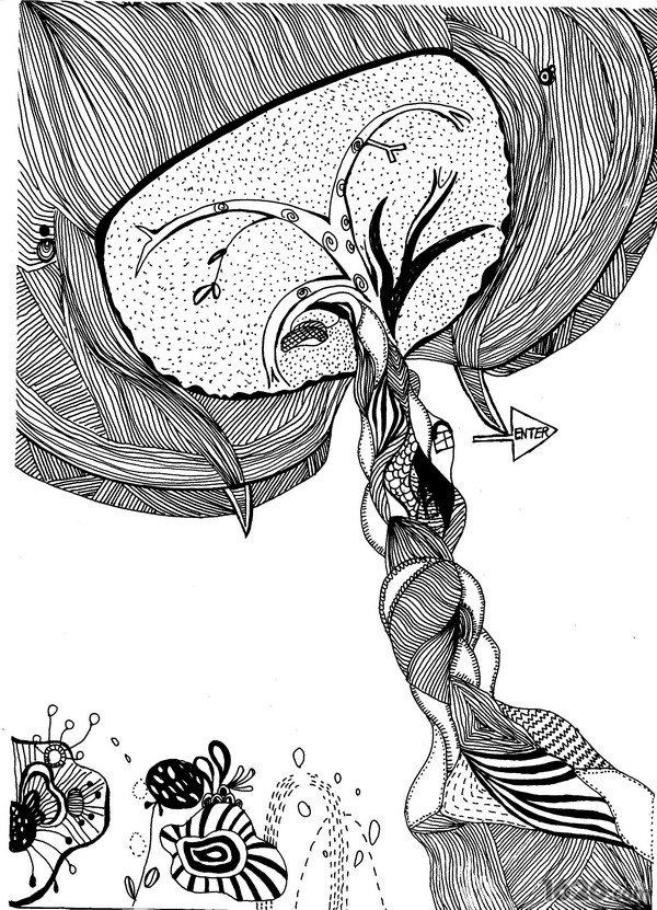 福州外經貿學院動漫設計與制作專業的楊麗凰(Style Fish),從小就非常喜歡畫畫,她的繪畫風格多樣化。Style Fish個性開朗爽快,偶爾也不缺乏幽默感,好奇心強,喜歡新鮮事物。她近日創作的《海裙》動畫,以黑白分明的線稿貫穿整個動畫,今天將為大家呈上其這部作品的線稿插圖。據Style Fish介紹說,這是一部叫海裙的動畫手稿,全部采用黑色水筆一次性畫上去的,沒有經過橡皮檫的修改。作品中的小女孩在污染過的河水穿梭著,伴隨著的是許多小魚、水草,但更多的是生活垃圾。Style Fish希望以此讓大眾