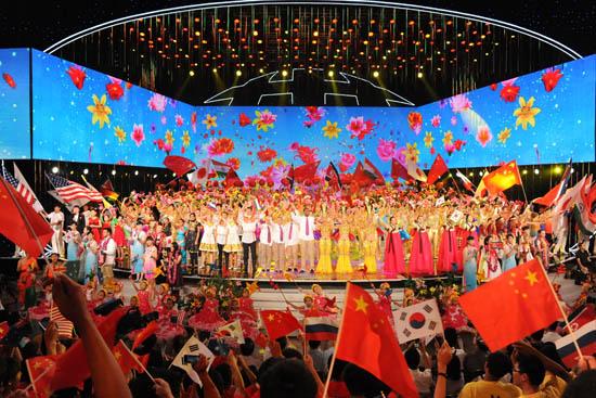 央视少儿频道《相约北京》联欢晚会显国际视野(组图)图片