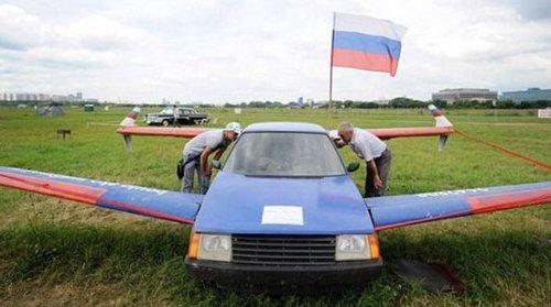 俄古稀老人自造飞行汽车 人类飞行梦未消失(组图)图片