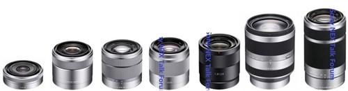 蓝色标注为三支索尼E卡口新镜,从左至右分别为50mm f/1.8 OSS,24mm f/1.8,55-210mm f/4-6.3 OSS