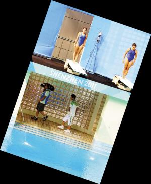 游动机位摄像师志愿者助理每天在跳水池旁边不知要走多少遍。