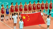 图文:中国女排2-3塞尔维亚 开球仪式现场