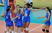 图文:中国女排2-3塞尔维亚 塞尔维亚庆祝