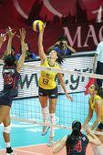 图文:美国女排3-0巴西夺冠 谢拉扣球瞬间