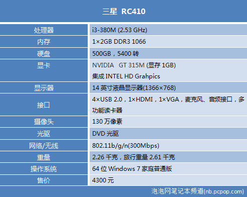 家庭娱乐专属!三星SNB i3本RC410评测