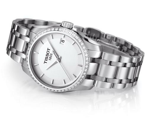 天梭库图系列钻石腕表钢制表带款-天梭库图系列钻石女表上市图片