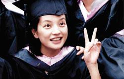 大明星赵薇当年的北电毕业照,青涩活泼。