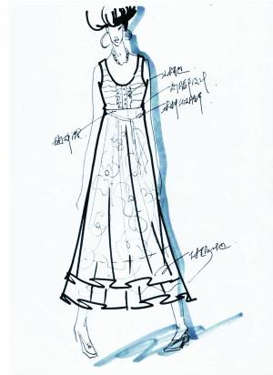 张义超的作品手绘图及对应成衣; 资深设计师试水; 米兰服装时装手绘图