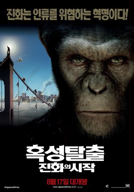 好莱坞科幻片《猿族崛起》登陆韩国后,战绩斐然