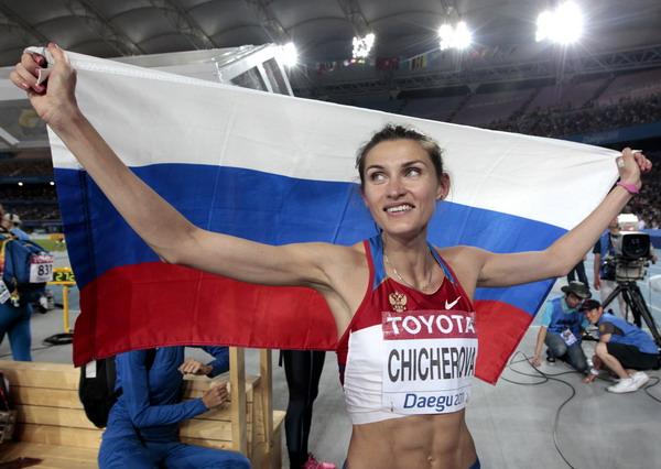 奇切洛娃庆祝夺冠