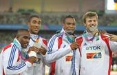 图文:男子4X100米接力颁奖仪式 亚军法国选手