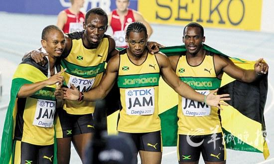 4×100米接力,牙买加夺冠并破纪录