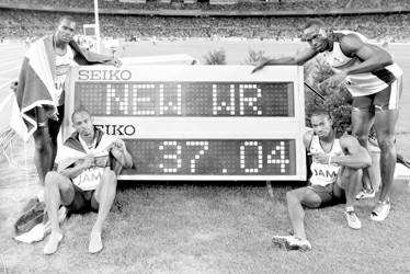 牙买加队打破本届世锦赛唯一一项世界纪录 本版图片CFP